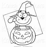 Cat Halloween Outlined Royalty Coloring Clipart Critter Pages Toon Hit Animal sketch template