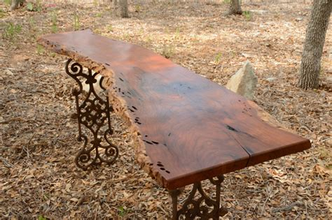 Live Edge Mesquite Entry Table With Wrought Iron Legs From