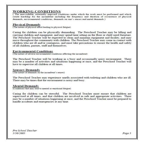 preschool teacher responsibilities preschool description free resume sample 765