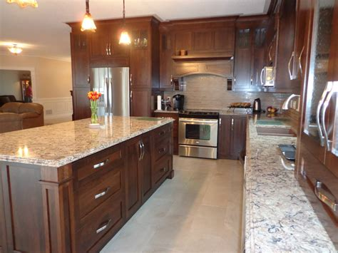 colored quartz countertops stained cherry wood kitchen with light colored quartz