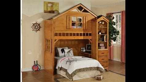 house bunk bed tree house style rustic oak finish wood loft bed bunk