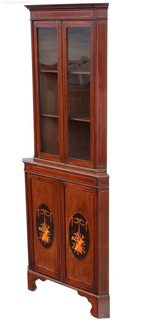 Corner Display Cabinet by Edwardian Inlaid Mahogany Corner Display Cabinet