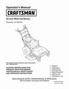 Craftsman 247887330 User Manual 33 Wide Cut Mower Manuals