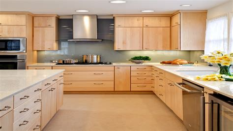 modern kitchen burl maple maple cabinets  wrought iron hardware kitchen remodel natural