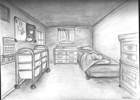 Drawing A Bedroom In One Point Perspective by Waldorf 7th Grade Perspective Drawing One Point