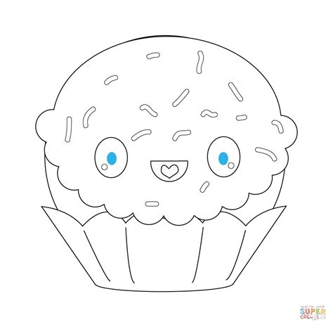 Kleurplaat Kawaii Food by Kawaii Cupcake With Sparkles Coloring Page Free
