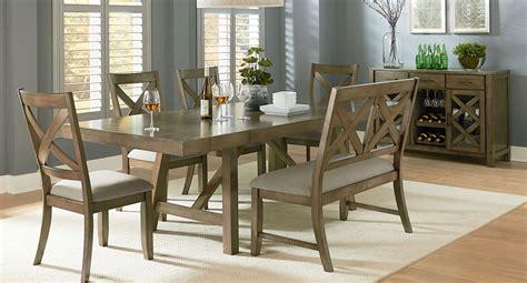 omaha dining room set    bench grey formal