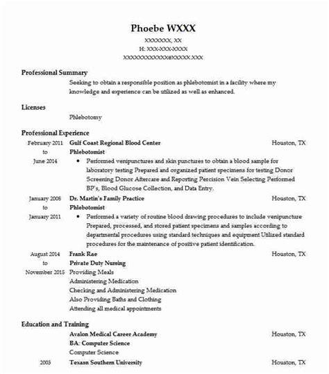 Healthcare Resume Exles Phlebotomist by Phlebotomist Resume Sle Nursing Resumes Livecareer