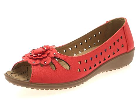 Womens Faux Leather Comfort Cut Out Flat Shoes Flower