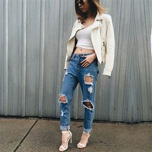 Cute denim jacket shoes jeans tumblr trendy tumblr outfit style boyfriend jeans on point ...