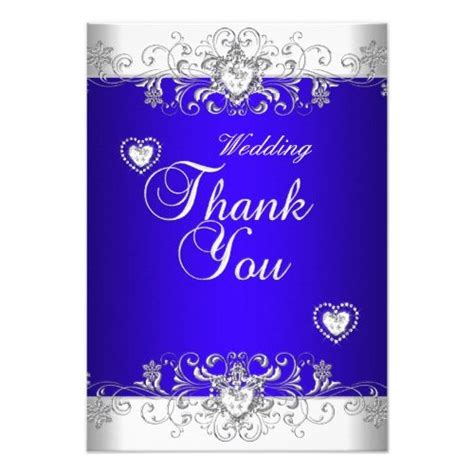 Thank You Royal blue Wedding White Diamond Hea Zazzle