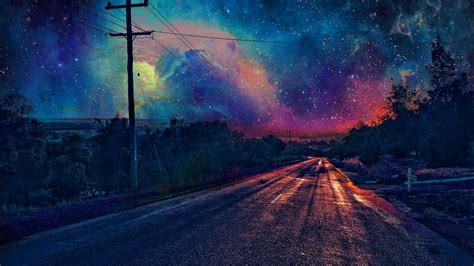 colorful galaxy wallpaper colourful galaxy view from road wallpaper hdwallpaperfx