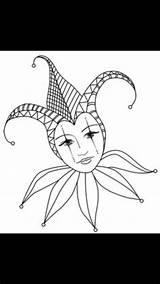Jester Coloring Drawing Mask Adult Costume Gras Mardi Karneval Maske Uploaded Card Decorations Books sketch template