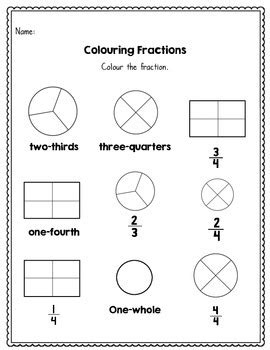 Beginning Fractions  Halves, Thirds And Fourths  45 No Prep Worksheets