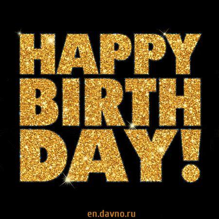 stylish gold glitter happy birthday animated image