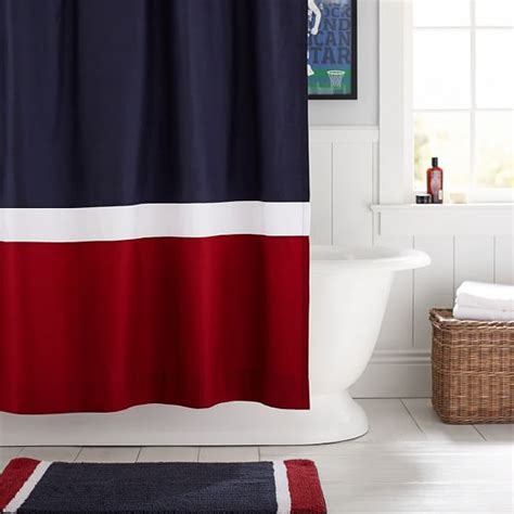 color block shower curtain navyred pbteen