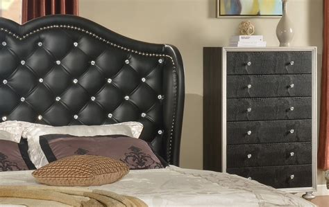 black tufted headboard glam black tufted leather bed