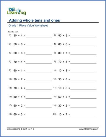 grade 1 place value worksheet on adding whole tens and