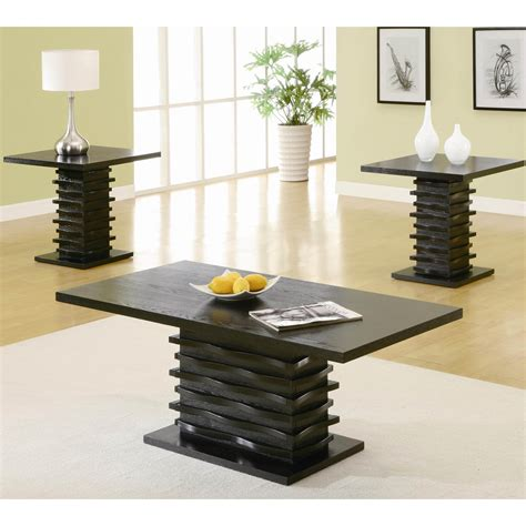 contemporary furniture coffee and end tables coaster furniture 701514 contemporary 3 pieces coffee