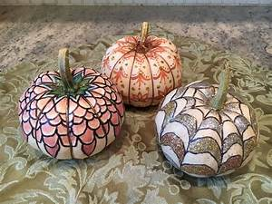 Small, White, Pumpkins, Decorated, With, Glitter, Acrylic, Paint, And, A, Sharpie