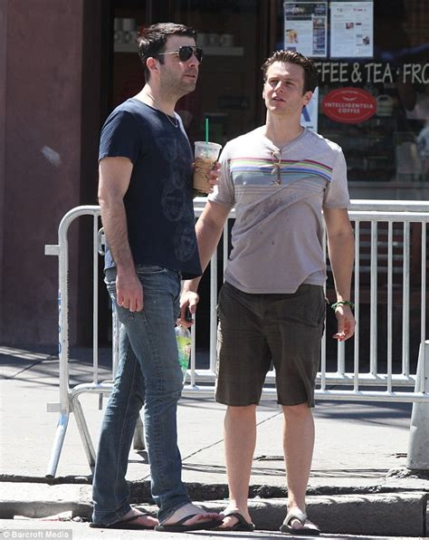 zachary quinto and jonathan groff zachary quinto looks glum as he takes a lone trek with his