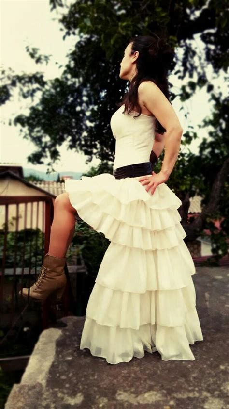 Steampunk Wedding Dress Ruffles Mini Front Boned Corset