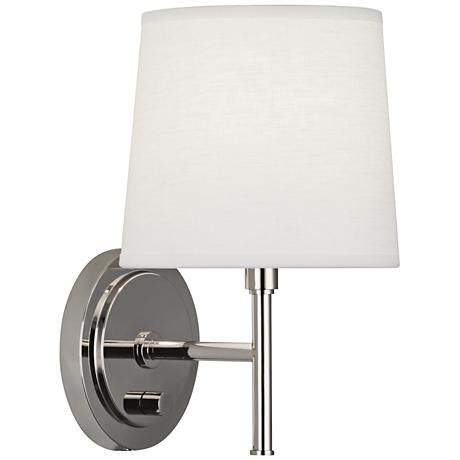 robert wall sconces robert bandit polished nickel in wall sconce