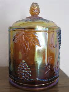 Amber Carnival Glass Jar with Lid