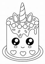 Coloring Cake Easy Cupcake Unicorn Mermaid Tulamama Kawaii Drawings Doodle sketch template