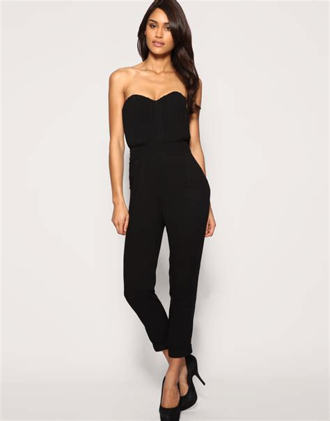 asos black jumpsuit asos collection asos pleated bust jumpsuit in black lyst