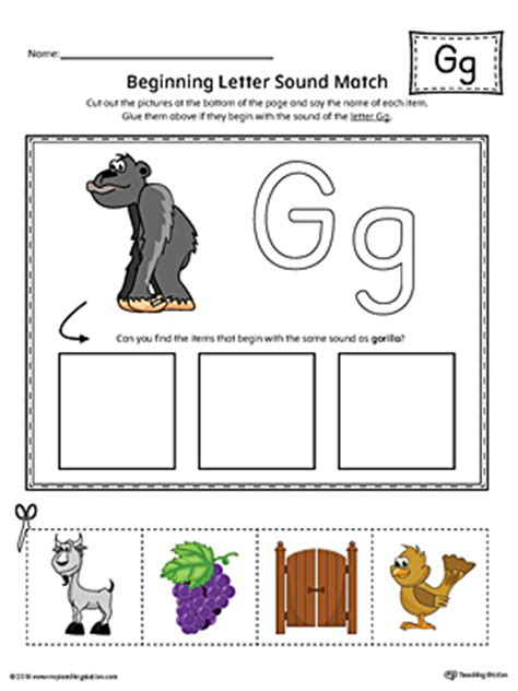 letter  beginning sound picture match worksheet color