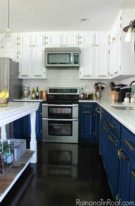 brushed bronze kitchen faucet navy and white modern kitchen