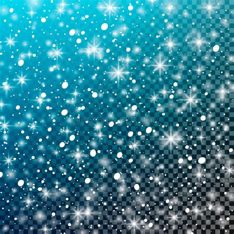 Glitter Snowflake Background by Falling Snow On A Transparent Blue Background Vector
