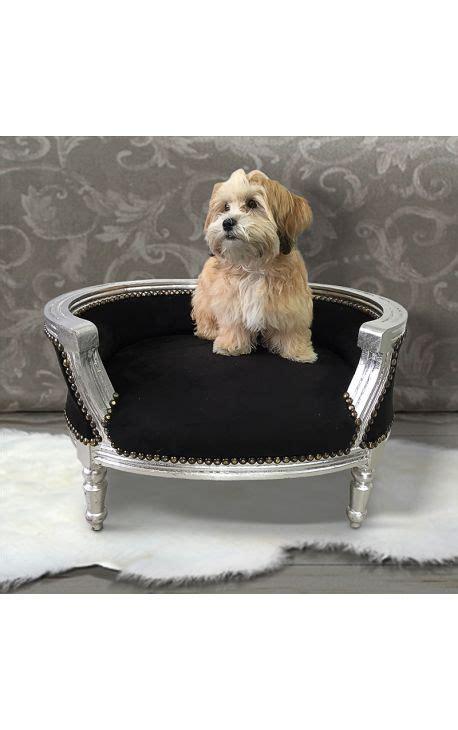 pipi de chien sur canapé en tissu canapé lit baroque pour chien ou velours noir et bois
