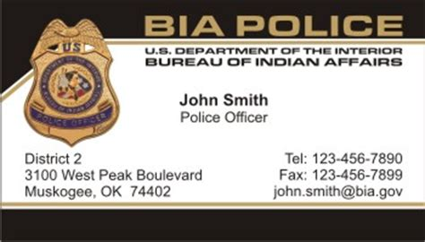 united states bureau of indian affairs policebusinesscards com display business cards