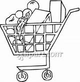 Grocery Clipart Cart Supermarket Drawing Shopping Clip Royalty Getdrawings sketch template
