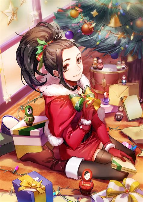 mozer boku no hero academia yaoyorozu momo christmas dress heels thighhighs 464984 yande re