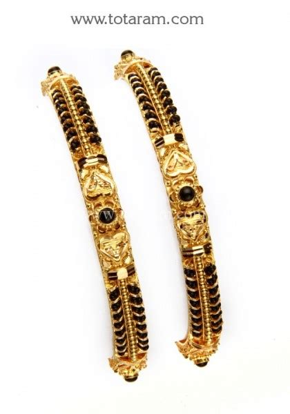 22k gold black bead bangles of 2 1 pair 235 gbl830 in 39 750 grams