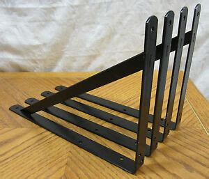 Metal Brackets For Countertops - lot 4 black heavy duty steel 14 5 x 10 shelf