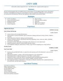 security resumes exles exle resume resume templates security