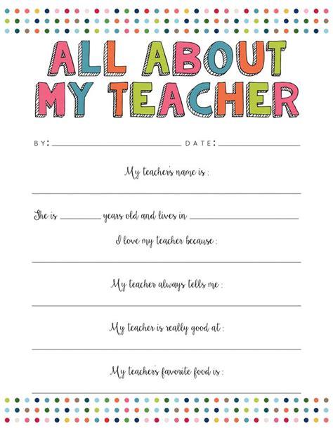 all about my teacher free printable printables and fonts teacher questionnaire teacher