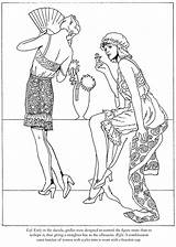Coloring Roaring Twenties Publications Fashions Pages Dover Flappers Adult Template sketch template