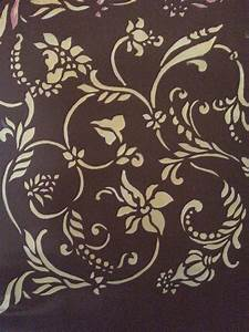 Wall painting flower stencils with charming gold and brown for Interior wall painting ideas stenciling