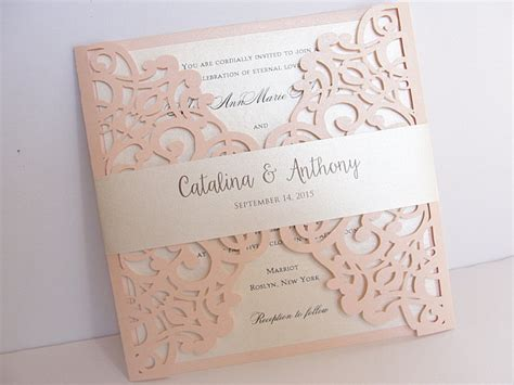 laser cut wedding invitations blush pink laser cut wedding invitation