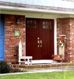 Red Brick House with Front Door Colors