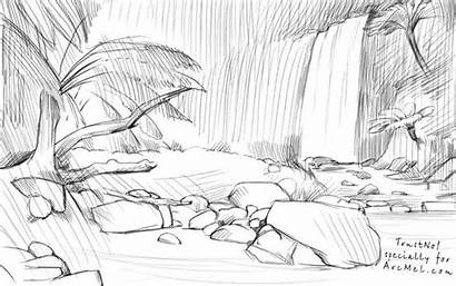 Draw Waterfall Step Sketch Jungles Realistic Rainforest