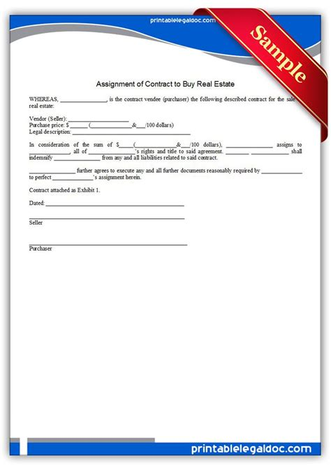 printable assignment  contract  buy real estate