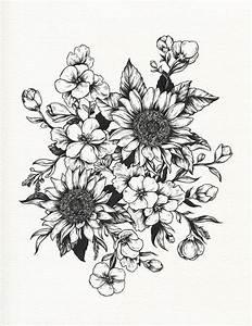 Tumblr Sunflowers Drawing Botanical illustration tattoo ...