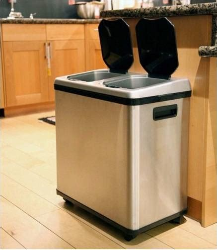 trash recycling kitchen bin bins recycle combo stainless steel gallon compartment dual cans touchless garbage itouchless multi erik compartments motion