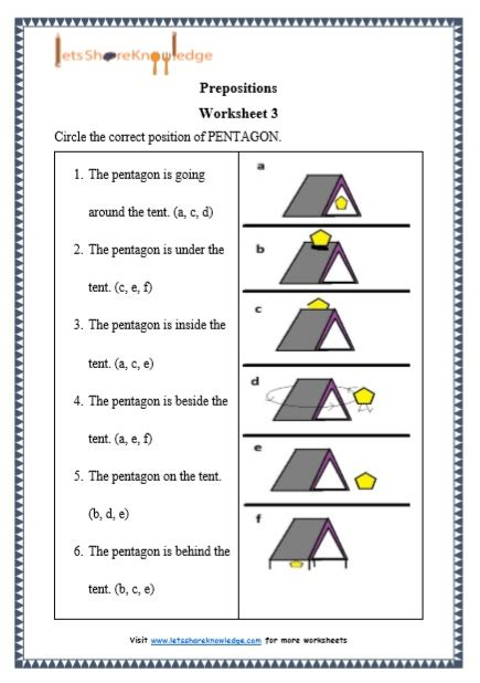 grade  grammar prepositions printable worksheets lets